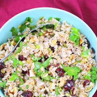 Farro Salad with Cranberries, Walnuts and Kale.