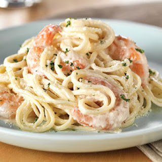 Creamy Shrimp Alfredo.
