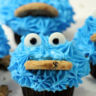 Cookie Monster Chocolate Cupcakes.