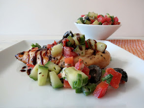 Photo: Mediterranean Grilled Chicken - The most tender flavorful grilled chicken topped with a tomato and cucumber salsa.  http://www.peanutbutterandpeppers.com/2013/04/24/mediterranean-grilled-chicken/  #chicken   #grilledchicken   #Mediterraneanchicken   #Starfinefoods   #healthyrecipes   #balsamicglaze