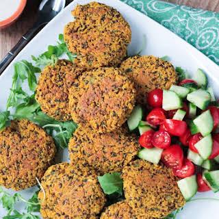 Baked Red Lentil Quinoa Fritters (gluten free, vegan).