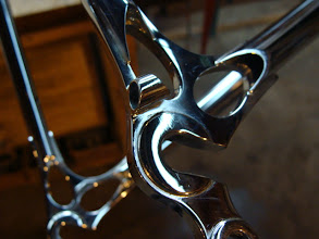 Photo: Di2 wiring on the polished Ellis dropouts.