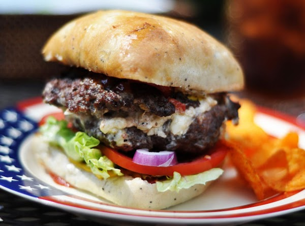 White Cheddar-bacon-pimiento Cheese Stuffed Burgers Recipe
