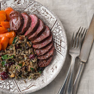 Duck Breast with Wild Rice Pilaf.