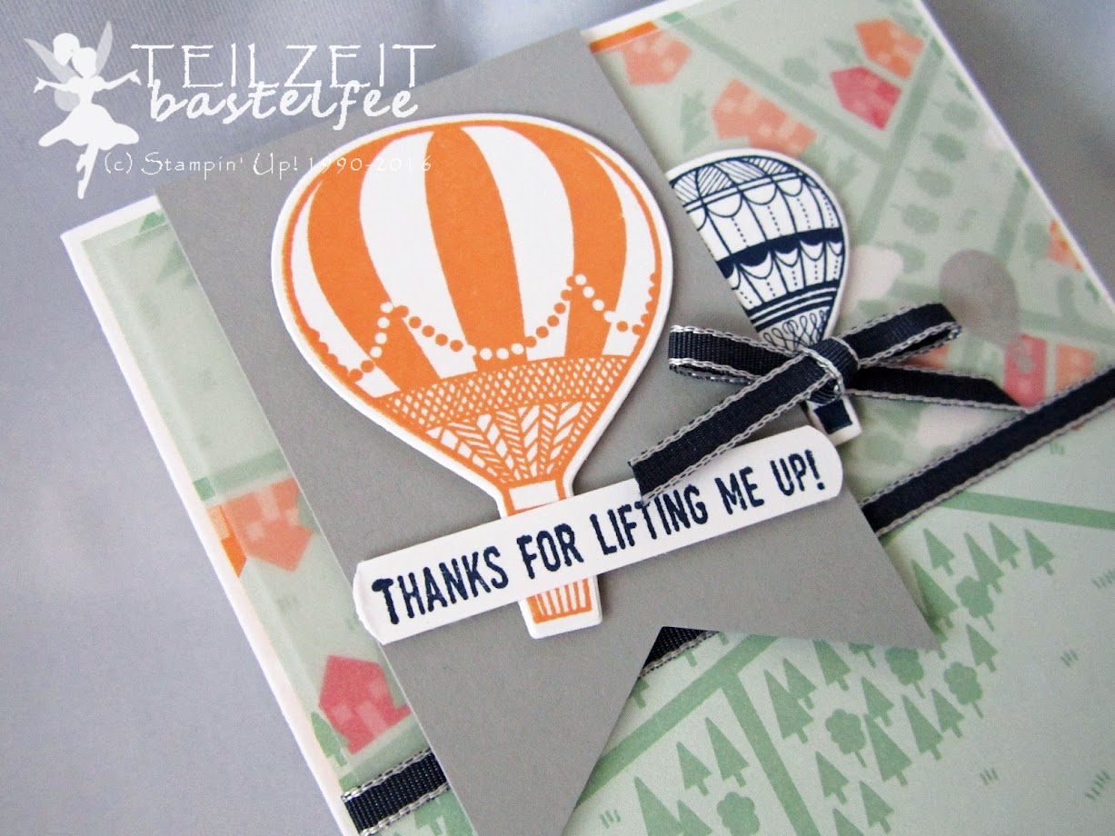 Stampin' Up! - In{k}spire_me #297, Designerpapier Traum vom Fliegen, SAB 2017, DSP SAB, Abgehoben, Lift me Up, Framelits In den Wolken, Up and Away Framelits, Banner, vellum, Thank you, Dankeschön