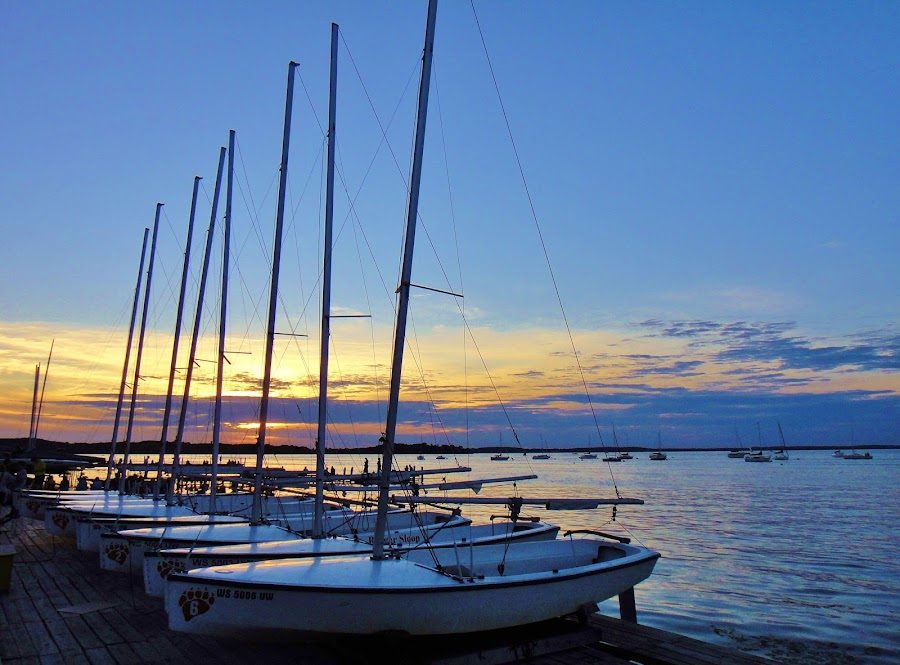 Sunset Sailboats by Jim Czech - Transportation Boats ( sailboats, sunset, boats, lake, sailboat, masts,  )