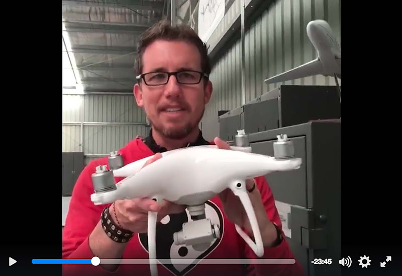 A screen grab of travel blogger Trey Ratcliff of Stuck in Customs showing off his new Phantom 4 drone on Facebook Live.