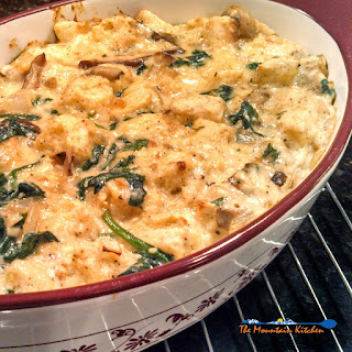 Mushroom and Spinach Strata With Smoked Gouda