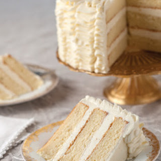 Sour Cream Cake with Whipped Vanilla Frosting.