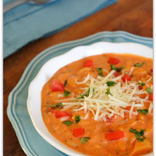 Slow Cooker Roasted Red Pepper and Tomato Soup with Chicken and Orzo.