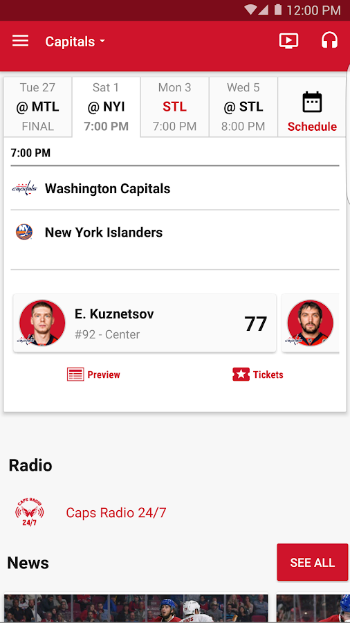 Washington Capitals- screenshot