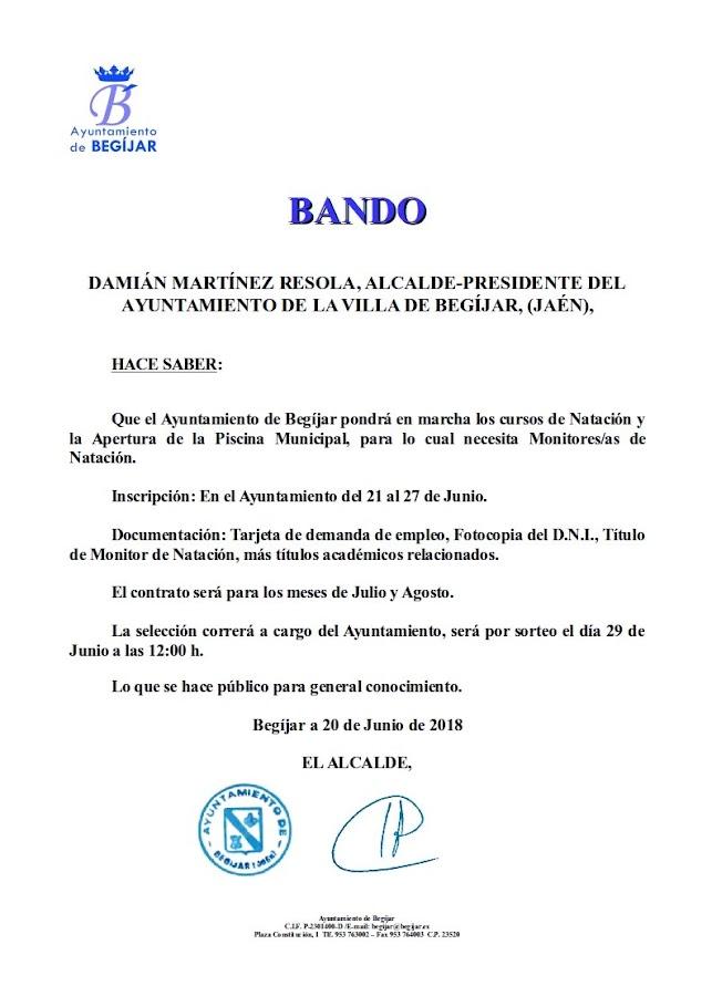 Bando Monitores Natación 2018