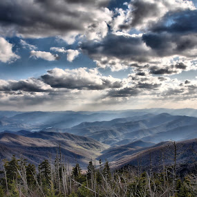 Almost Heaven by Vickie Barnhill - Landscapes Mountains & Hills ( clouds, mountains, sky, clingmansdome, heaven, sunset, skies )