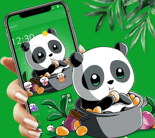 Cute Anime Green Panda Theme 1.1.1 screenshots 1