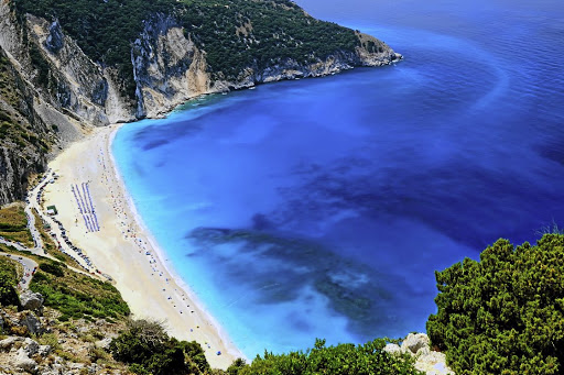 Famous location: Observant moviegoers will recognise Myrtos beach, the kilometres-long arc of white pebbles lining the gulf of azure, from Captain Corelli's Mandolin. Picture: GREECE TOURISM