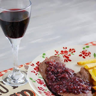 Steak with Shallot Red Wine Sauce.