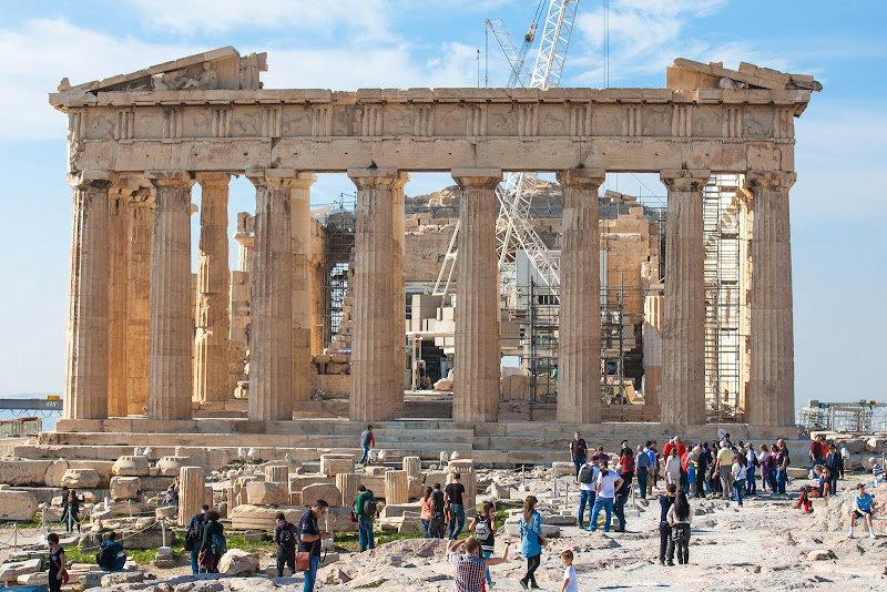 The Parthenon, a former temple on the Acropolis in Athens, was dedicated to the goddess Athena.