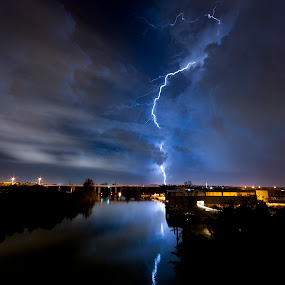 Strike one! by Jay Kleinrichert - Landscapes Weather ( lightning, pwcfoulweather, jkthree )