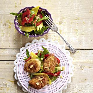 Spicy Peanut Turkey Meatballs With Mango Salad