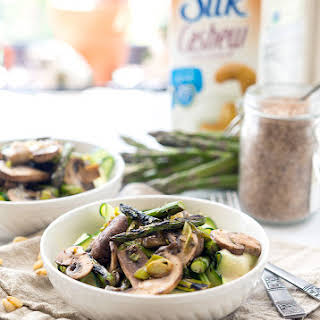 Grilled Asparagus with Cream Sauce over Ribbons.