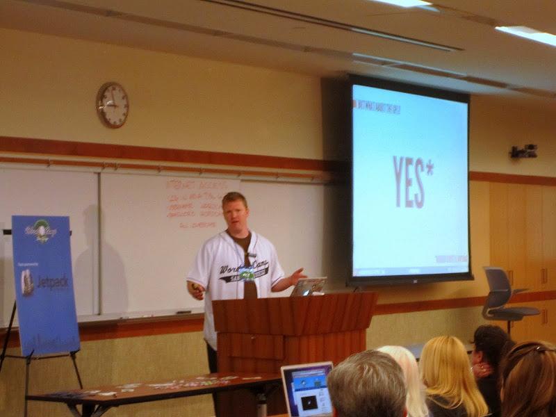 "Photo: Pic of @brandondove presenting ""Premium Plugins & Adhering to the GPL"" at WordCamp San Diego"