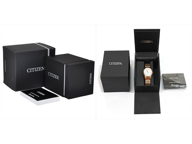 Hộp đồng hồ và giấy tờ kèm theo của Citizen cũng toát lên phong cách của hãng: thanh lịch, hiện đại