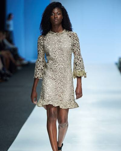 Shana Morland was one of several designers who featured lace brocade in her collection