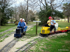 Photo: Gary & Letha Grace McCoy out of the way for the quickly moving Craig Thomasson with his nephew at the controls - he goes just as fast as my grandsons.     HALS Chili Fest Meet 2014-0301 RPW
