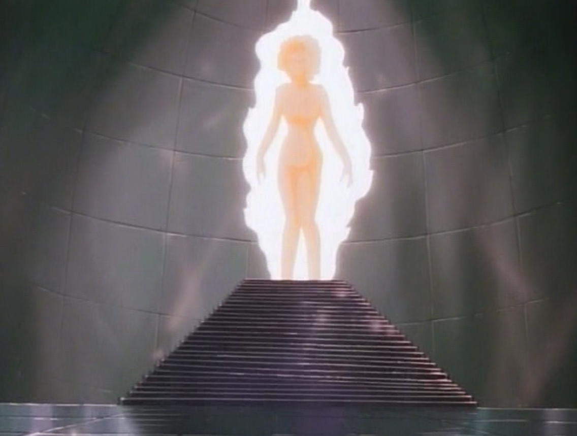 Diana, in her large, made-of-light-form