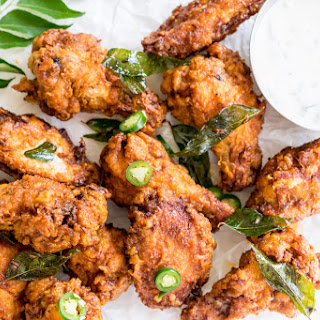 Chicken 65 Wings and Cucumber Raita Dip