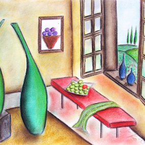 Fine Country Living by Jennifer van Niekerk - Drawing All Drawing ( calm, countryside, bouquet, hills, pastel, still life, vases, indoors, drawing, farm, tranquil, villa, tree, cottage, bottles, soft pastel, hill, sketch, green, art, portrait, country, pastels, red, window, blue, serene, trees, garden )