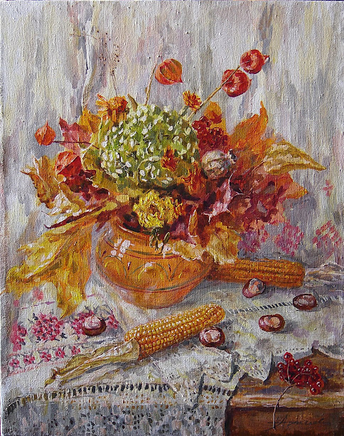 Осенняя листва и кукуруза1,50х40,2005г