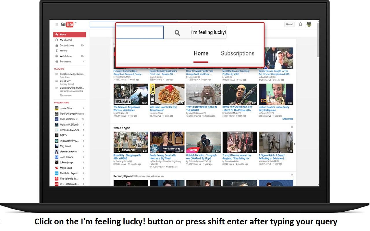 I am feeling Lucky for Youtube Screenshot