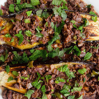 Baked Eggplant with Lamb and Walnut Sauce.