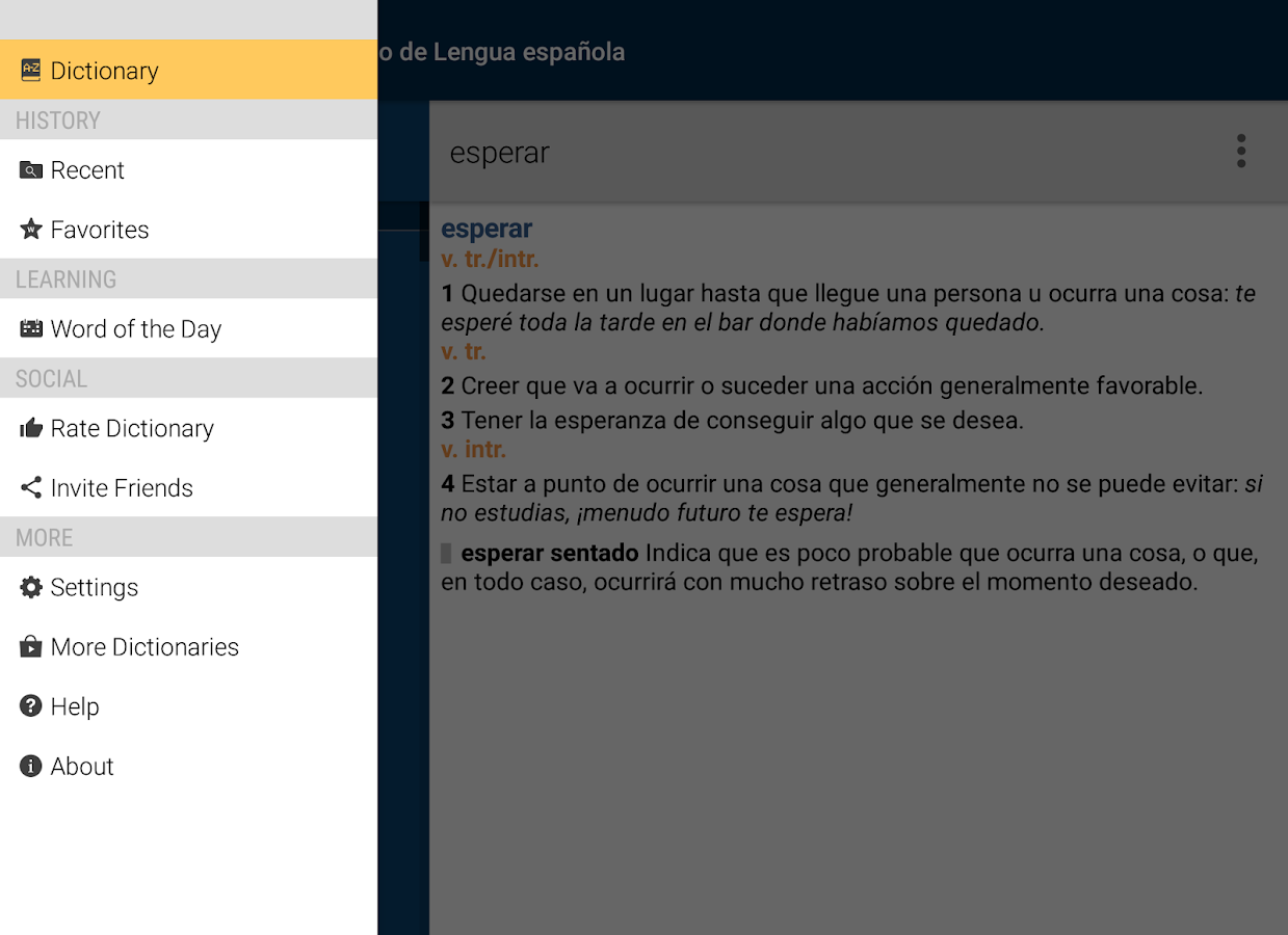 Vox Spanish Advanced Dict- screenshot