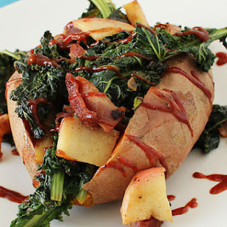 Baked Sweet Potatoes with Bacon-Braised Kale and Apples and Spicy Ketchup