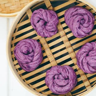 Vegan Steamed Purple Potato & Chia Buns (Mantou).