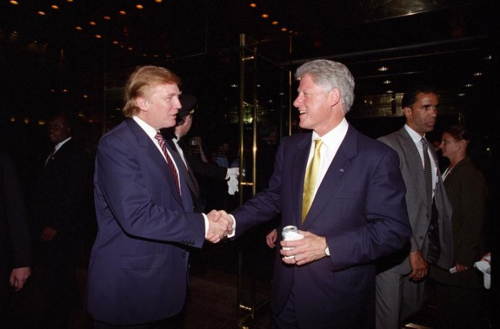 Donald Trump and Bill Clinton at a fundraiser in New York in 2000. Courtesy William J. Clinton Presidential Library/Handout via REUTERS