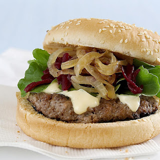 Burgers with Garlic Mayonnaise, Caramelized Onions and Beets