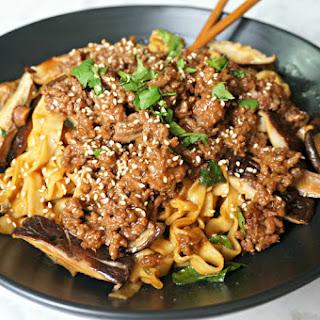 Shanghai Noodles with Ground Pork & Veggies.