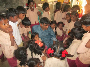 Photo: Sandeep interacts with a class at Placepalayam.