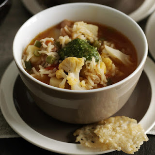 Pesto Minestrone with Parmesan Crisps