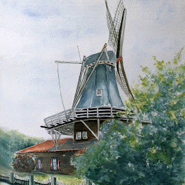 Dutch mill- Anna Pauwlona by Bob Has - Painting All Painting ( mill, ols, holland, dutch, corn )