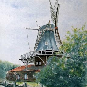 Dutch mill- Anna Pauwlona by Bob Has - Painting All Painting ( mill, ols, holland, dutch, corn )