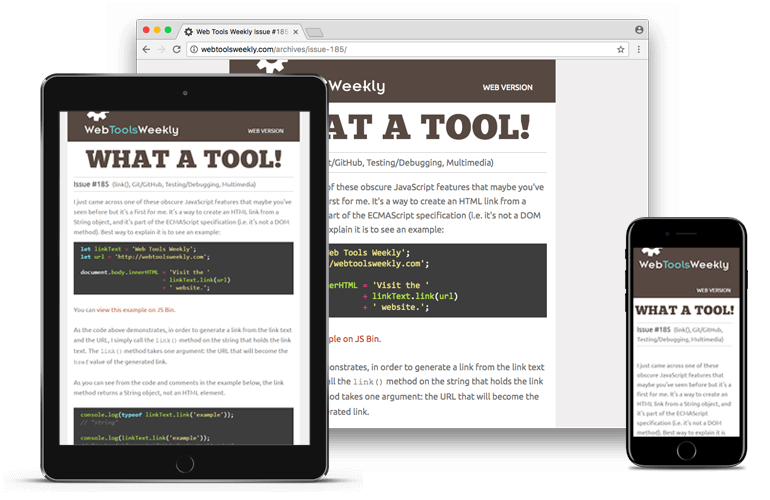 Web Tools Weekly newsletter image