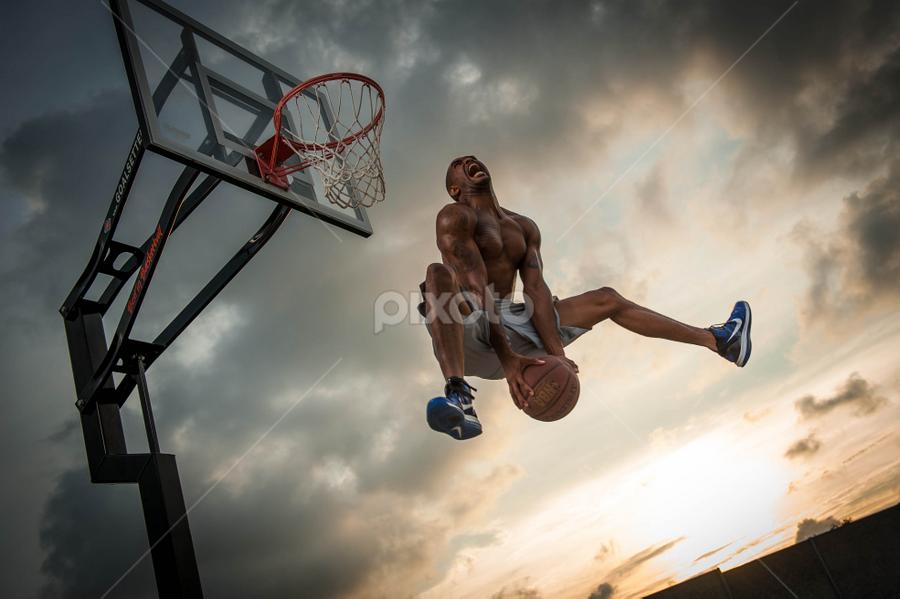 Sky by Algernon Parker - Sports & Fitness Basketball ( basketball, art stroman, athletic shoot )