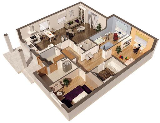 Dom z historią - C258 - Rzut parteru 3D