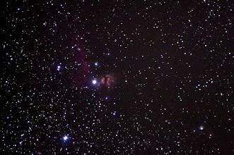 Photo: Flame Nebula and Horsehead Nebula (just)
