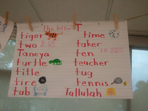 Photo: My name on her class worksheet. They were listing words that start with the letter T.