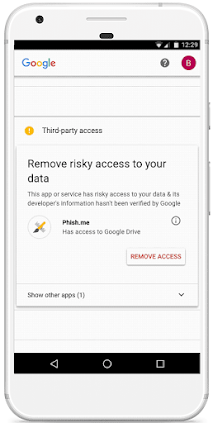 Security Checkup on mobile for a risky app